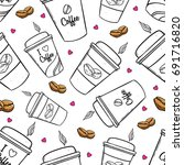 Seamless Pattern Of Coffee Cup...