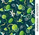 fresh limes background.... | Shutterstock .eps vector #691725379