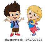 back to school. cute kids...   Shutterstock .eps vector #691727923