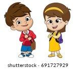 back to school. cute kids... | Shutterstock .eps vector #691727929