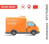 delivery truck. concept of the... | Shutterstock .eps vector #691742860