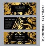 set of white  black and gold... | Shutterstock .eps vector #691746964