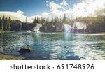 waterfalls cascades monkman... | Shutterstock . vector #691748926