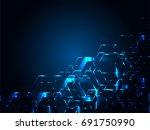 blue neon hexagon | Shutterstock .eps vector #691750990
