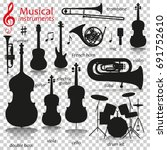music instruments.  silhouette... | Shutterstock .eps vector #691752610