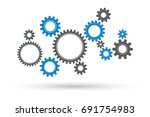gears and cog wheel on a white... | Shutterstock .eps vector #691754983