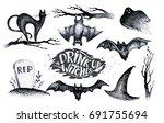 Halloween Hand Drawing Black...