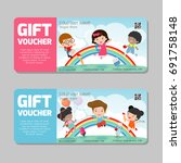 gift voucher template with... | Shutterstock .eps vector #691758148