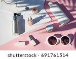 summer pink cosmetics flat lay ...   Shutterstock . vector #691761514