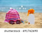 bottle of sunscreen lotion on...   Shutterstock . vector #691762690