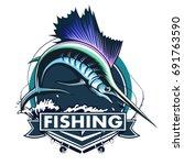 marlin fish logo.sword fishing... | Shutterstock .eps vector #691763590