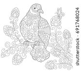 coloring page of dove  pigeon ... | Shutterstock .eps vector #691768024