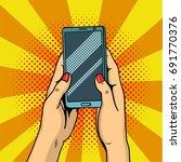 hands holding smartphone pop... | Shutterstock .eps vector #691770376