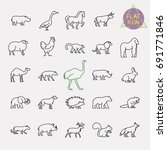 animals line icons set | Shutterstock .eps vector #691771846