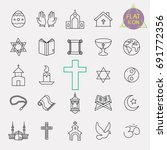 religion line icon set | Shutterstock .eps vector #691772356