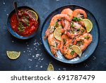 Cooked shrimps on plate with...