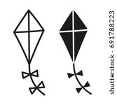 kite simple black icon vector ... | Shutterstock .eps vector #691788223
