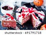 bloody halloween cake   red...   Shutterstock . vector #691791718
