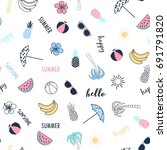 summer icons pattern vector for ... | Shutterstock .eps vector #691791820