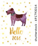hello 2018 new year. card with... | Shutterstock . vector #691793014