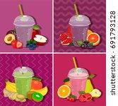 set glass with milkshake... | Shutterstock .eps vector #691793128