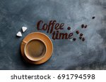 coffee composition with cup and ...   Shutterstock . vector #691794598