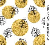gold autumn floral background.... | Shutterstock .eps vector #691797898