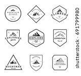 mountain adventure badges... | Shutterstock .eps vector #691799980