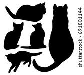 cats silhouette set isolated... | Shutterstock . vector #691801144