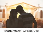 young couple silhouettes... | Shutterstock . vector #691803940