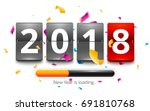 happy new year 2018 is loading. ... | Shutterstock .eps vector #691810768