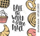 set of vector bakery elements... | Shutterstock .eps vector #691811803