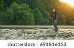 sport fisherman hunting... | Shutterstock . vector #691816123