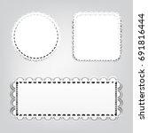 set of white paper decorative... | Shutterstock .eps vector #691816444