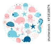 vector group of sea animals and ... | Shutterstock .eps vector #691818874