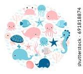 Vector Group Of Sea Animals An...