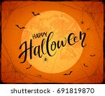 lettering happy halloween with... | Shutterstock .eps vector #691819870