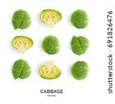 Small photo of Seamless pattern with cabbage. Vegetables abstract background. Cabbage on the white background.