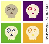 assembly flat icons halloween... | Shutterstock .eps vector #691827430