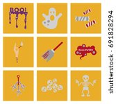 assembly flat icons halloween... | Shutterstock .eps vector #691828294