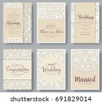set of white wedding flyer... | Shutterstock .eps vector #691829014