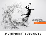 silhouette of volleyball player.... | Shutterstock .eps vector #691830358