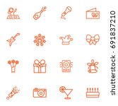 set of 16 cheerful outline... | Shutterstock .eps vector #691837210