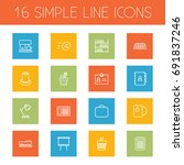 set of 16 workspace outline... | Shutterstock .eps vector #691837246
