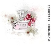 watercolor perfume with flowers ...   Shutterstock . vector #691838533