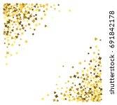 triangle corner gold frame or... | Shutterstock . vector #691842178