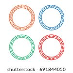 round window frame in korean...   Shutterstock .eps vector #691844050
