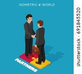 businessmen shake hands... | Shutterstock .eps vector #691845520