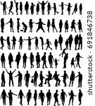 large collection silhouettes of ... | Shutterstock .eps vector #691846738
