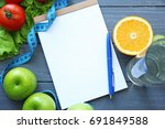 blank notebook  pen and healthy ... | Shutterstock . vector #691849588